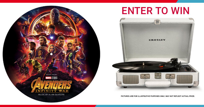 """Enter for your chance to win an Avengers: Infinity War Prize pack. 20 Grand Prize winners will each receive aMarvel Studios' Avengers: Infinity War Original Soundtrack vinyl 12"""" album, provided by Disney Museum Emporium and a Crosley """"Cruiser Deluxe"""" Turntable, provided by Crosley Brands"""