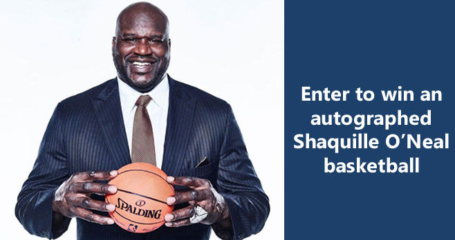 Enter for your chance to win an autographed Shaquille O'Neal basketball from #DoorDash when you enter the Shaq vs. Gronk Autographed Basketball Giveaway