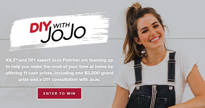 KILZ® and DIY expert JoJo Fletcher are teaming up to help you make the most of your time at home by offering 11 cash prizes, including one $5,000 grand prize and a DIY consultation with JoJo.