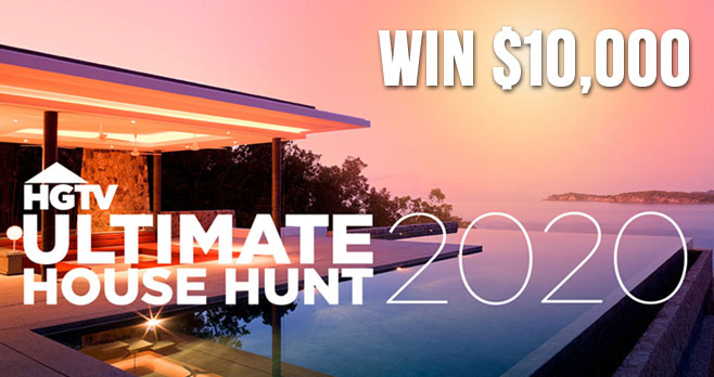 Join HGTV on the Ultimate House Hunt. Tour amazing homes and vote for your favorites. After you vote, be sure to enter the sweepstakes for your chance to win $10,000.