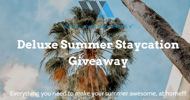 Enter for a chance to win a Deluxe Summer #Staycation featuring some super cool goods to make staying home awesome. The grand prize includes a $250 Amazon gift card, free wine and other gift cards for fun shopping adventures.