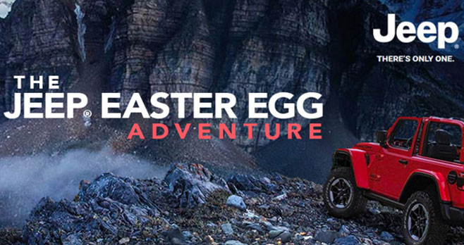 Enter for your chance to win a 2020 or newer Jeep vehicle! The world has discovered Jeep Easter Eggs. Now they want you to submit your idea for the next Jeep Easter Egg for a chance to win a 2020 or newer Jeep vehicle of your choice! They will even hide the winner's Easter Egg on a new Jeep Brand vehicle!