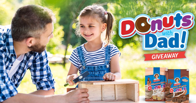 Enter for a chance to win the Little Debbie Donuts with Dad Giveaway! One ( Grand Prize winner will receive a $500 e-card to a home improvement retail store + a case of Double Chocolate Mini Donuts or Cinnamon Sugar Mini Donuts. Two (2) Second Place winners will receive a $250 e-card to a home improvement retail store meal kit delivery service + a case of Double Chocolate Mini Donuts or Cinnamon Sugar Mini Donuts. Ten (10) Third Place winners will receive a case of Double Chocolate Mini Donuts or Cinnamon Sugar Mini Donuts.