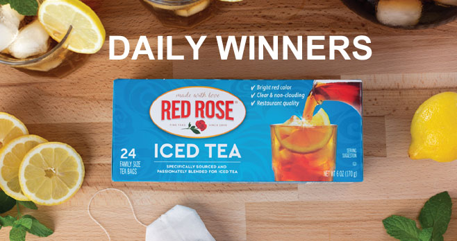 Red Rose Iced Tea is kicking off National Iced Tea Month with a chance to WIN a box of theirclassic Red Rose Iced Tea every day! Taste the love in every pitcher.