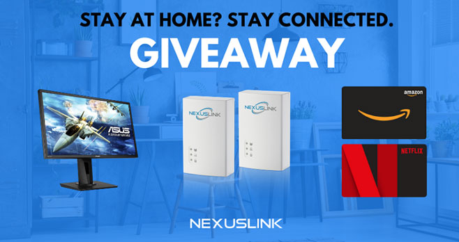 """Enter the #NexusLink Stay Connected At Home Giveaway for your chance to win a ASUS 24"""" LED Freesync Monitor, NexusLink G.hn Powerline Adapter, $50 Amazon gift card Plus 2 free months of Netflix."""