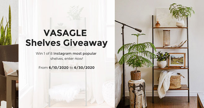 Enter for your chance to win SONGMICS Vasagle most popular Shelves and bookcases. VASAGLE Industrial Bookshelves, 5-Tier Ladder Shelf, Bookcase and Storage Racks, feature a metal frame and accent any room in your home or office.