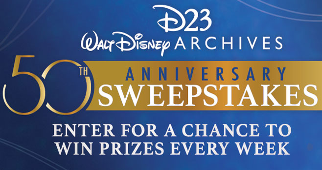 Join D23 in celebrating 50 Golden Years of the Walt Disney Archives! Enter the #D23 weekly sweepstakes filled with one-of-a-kind prizes, including treasures curated directly from the Archives' collection!
