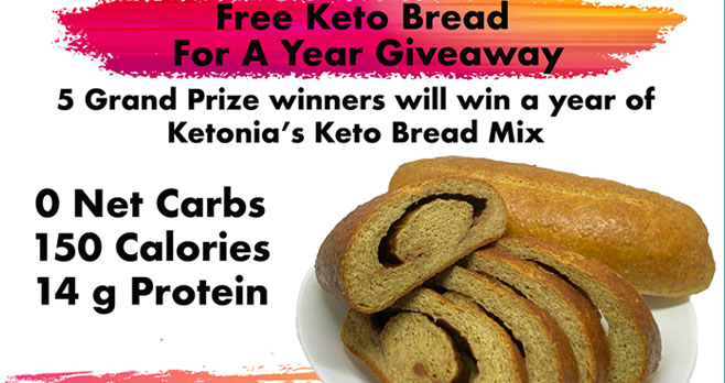 Enter for your chance to win your share of over $3000 worth of #Keto prizes including Ketonia's Keto Bread Mix for a year!