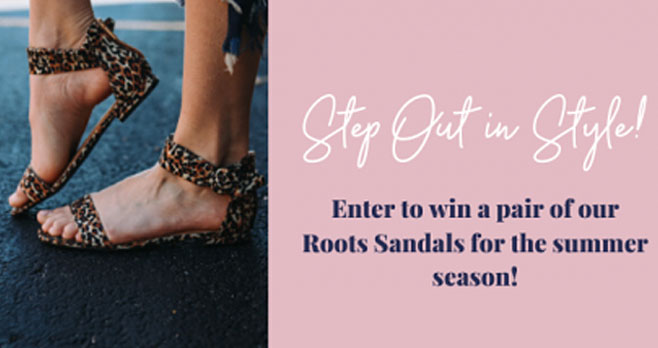 Enter to win a pair of SUPER cute Roots leopard sandals just in time for summer to come around and life to get back to normal.