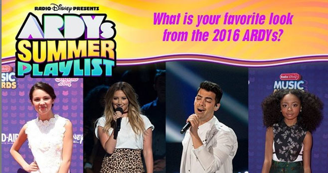 """Enter for your chance to win a $1,000 Visa gift card and a 50"""" Smart TV. What is your favorite look from the 2016 ARDYs? 1. #OliviaRodrigo 2. #AshleyTisdale 3. #JoeJonas or 4.#SkaiJackson"""
