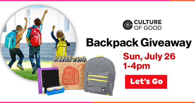 On Sunday, July 26 from 1 to 4 pm, participating Verizon Wireless Zones will be giving away FREE backpacks filled with school supplies. One backpack per child. While supplies last.