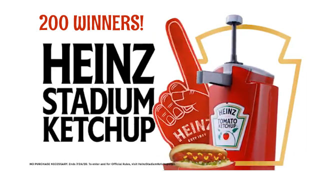 200 WINNERS! Enter for a chance to win your very own #HEINZ Stadium Ketchup kit that includes a coupon for a free package of OSCAR MAYER Hot Dogs, hot dog trays to serve up the perfect stadium hot dog, napkins, and a HEINZ red foam finger to help you cheer on your favorite team.