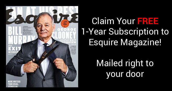 Get a one-year Subscription to Esquire Magazine for Free when you fill out the form. Mercury Magazines is giving away this complimentary 1-year subscription with no strings attached.