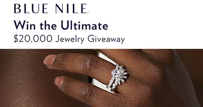 Enter for your chance to win a $20,000 Blue Nile jewelry shopping spree. This is their biggest prize ever! Splurge on the diamond ring of your dreams or an array of beautiful fine jewelry. Enter now for your chance to win big!