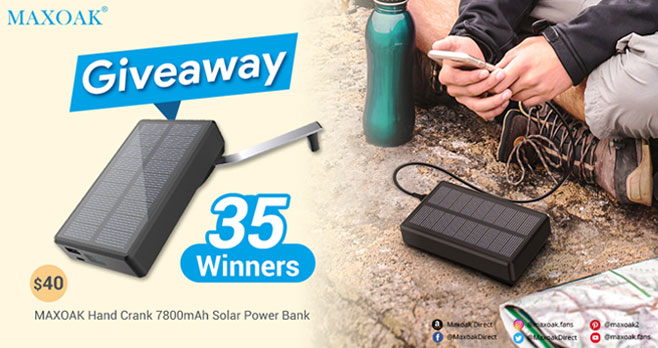 Enter for your chance to win a MAXOAK Hand Crank 7800mAh Solar Power Bank. The MAXOAK Hand Crank Solar Power Bank is an alternative to solar powered chargers that rely only on the sun to generate electricity. The hand-crank powered charger is an option for emergency power outage when there is no sunlight or AC outlet.
