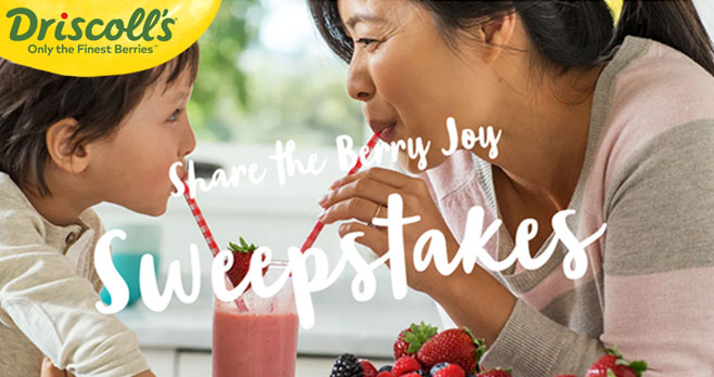 Enter to Win berries for one whole year in Driscoll's Share the Berry Joy Sweepstakes. It's 365 days of our finest berries and 365 ways to share the berry joy. A winner will be selected at the beginning of October.