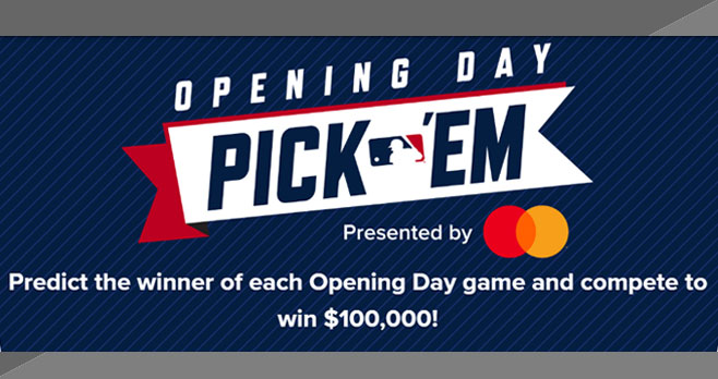 Enter for your chance to win $100,000 from #MLB! Predict the winner of each Opening Day game and compete to win $100,000 in the MLB Opening Day 2020 Pick 'Em Contest
