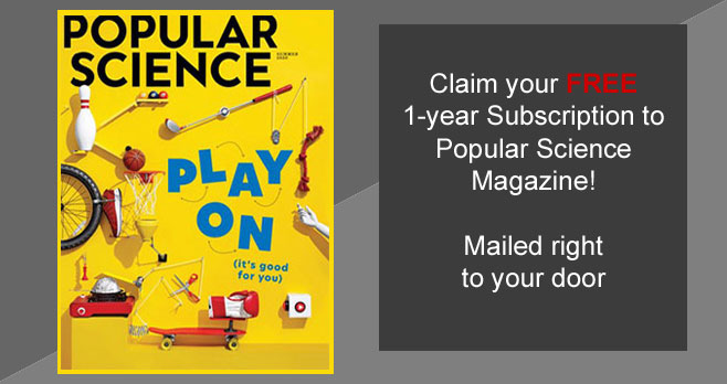 Get a one-year Subscription to Popular Science Magazine for Free when you fill out the form. Mercury Magazines is giving away this complimentary 1-year subscription with no strings attached.