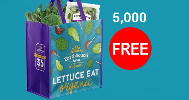 Earth Bound Farm is giving away 5,000 FREE reusable shopping tote bags. Enter the Taylor Farms/Earthbound Farm Double Dream Giveaway for your chance to win.