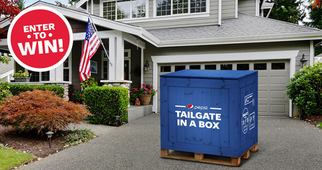 Pepsi paved one fan's yard, but we wants to give everyone a piece of the tailgate to bring home. Follow them on Twitter and RT the #tailgateinabox tweet for a chance to win.