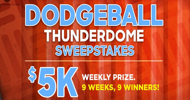 Enter the #Dodgeball Thunderdome weekly sweepstakes code for your chance to win $5,000 in cash from the Discovery Channel. Tune into Discovery during the premiere of Dodgeball and take note of the code word that will appear on the screen at various times during the premiere (during shows via on-screen graphics).
