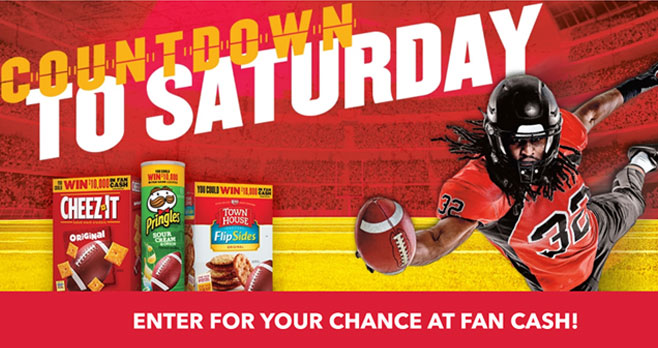 Enter for your chance to win fan cash from Kellogg's. Enter the fKellogg's Countdown to Saturday Sweepstakes 5 times daily with chances to earn double entries