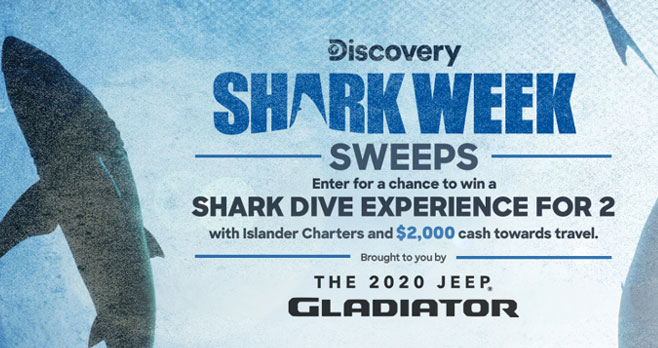 Enter for your chance to win Shark Dive Experience for two PLUS $2,000 in cash when you watch Shark Week on the Discovery Channel! Tune in to Discovery Channel's Josh Gates Tonight on the Discovery channel and provide the correct answer to the trivia question relating to that night's episode for your chance to win