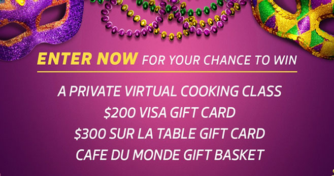 Enter Lifetime's Nola Night in Sweepstakes daily for your chance to win gift cards, a Cafe Du Monde gift basket and a private virtual cooking class for you and a friend.