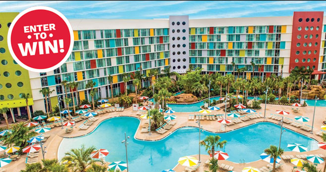 Enter for your chance to win a trip for 4 to Universal Studios Florida where you will stay at Universal's Cabana Bay Beach Resort.