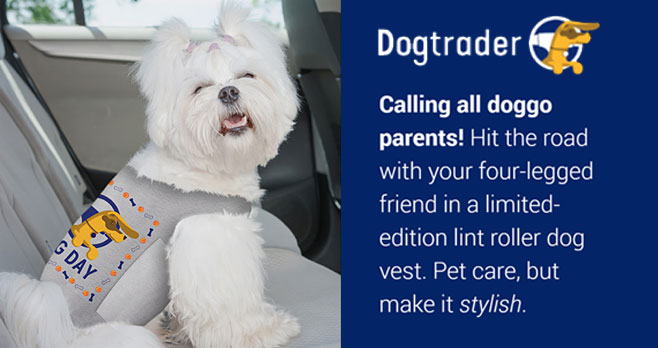 Enter for your chance to win a limited-edition #NationalDogDay Dogtrader dog vest for your furry companion, made of lint-roller material for easy clean-ups.Make dog hair clean up quick and easy on the go this summer, while keeping your car looking its best.