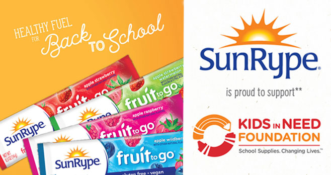Enter for your chance to win a #ChromeBook Laptop when you enter the SunRype Kids In Need Sweepstakes. SunRype will be supporting students through the Kids In Need Foundation with a brand new backpack filled with core supplies, plus SunRype will also be donatingSunRype Fruit to Go fruit strips to be included in KINF backpacks.