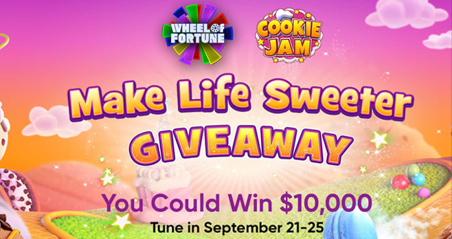 Wheel of Fortune is giving away $10,00 in cash everyday this week. Enter the correct Daily Puzzle Solution in the Wheel of Fortune Make Life Sweeter Giveaway entry form for your chance to win.