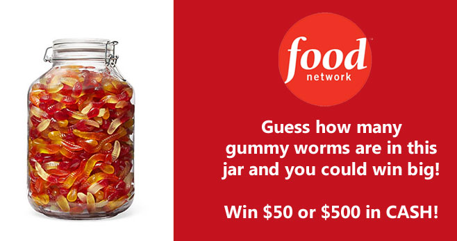 Guess how many gummy worms are in this jar and you could win big from Food Network Magazine! Enter by October 2. The winner will receive $500 and three runners-up will each receive $50!