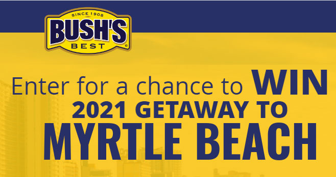 Enter for the chance to WIN a 2021 getaway to MYRTLE BEACH when you enter the Bush's Bean Chips & Myrtle Beach Trip Sweepstakes daily.