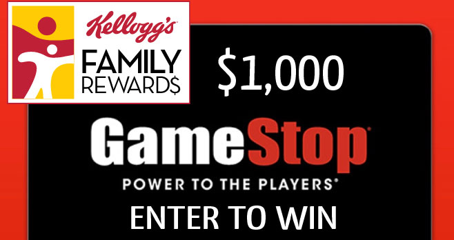 Enter for your chance to win $1,000 in #GameStop gift cards from #KFR. Redeem 50 points for a chance to win $1,000 in the Kellogg's Family Rewards GameStop $1,000 Giveaway or send entries in the mail without using KFR points for free.