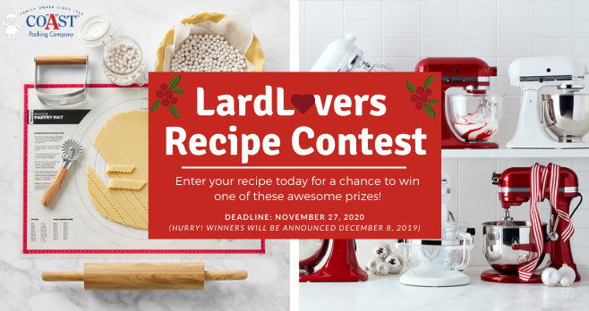 Think your recipe has what it takes to win a KitchenAid Artisan Stand Mixer? Then enter your recipe now -- It's easy! Just upload your own original recipe that includes lard, including a list of all ingredients, select a category, and include a clear photo of your finished dish. Be sure to share your entry on your blog and social channels.