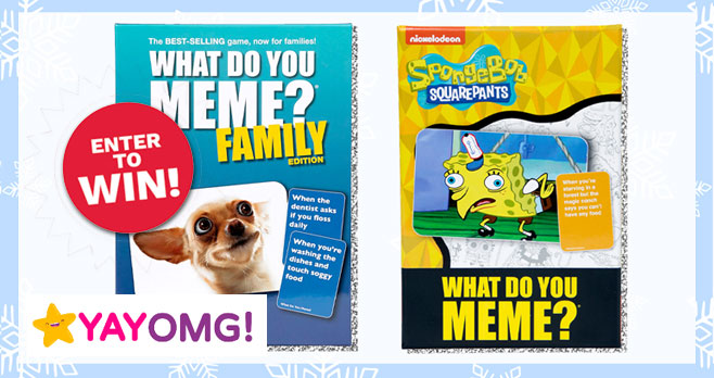 ONE lucky winner will receive a What Do You Meme? Family Prize Pack from YAYOMG! Game lovers, get excited, because the next prize pack in the Holly Jolly Giveaways series is perfect for slaying boredom and keeping you busy on blustery snow days! Ready to snag this seriously awesome prize pack? Grab your favorite adult and fill out the form