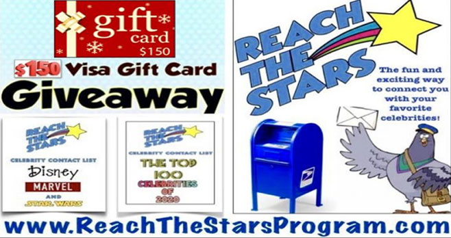 Enter to win a $150 VISA gift card and get two FREE celebrity guides from Reach The Stars -The Top 100 Celebrity Contacts of 2020 andThe Disney/Marvel/Star Wars Celebrity Contact Sampler