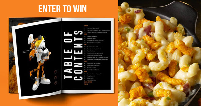 """Enter for your chance to win a Bon Appe-Cheetos: A Holiday Cookbook by Chester & Friends. Just in time for a wintry season sure to be anything but traditional, Chester Cheetah is here to bring a little holiday cheer — rather, """"Cheetle®"""" — to his favorite seasonal dishes with the launch of the first-ever official Cheetos holiday cookbook."""