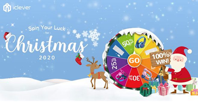 Play the iClever Win-Spin Your Luck for #Christmas Game for your chance to win Bluetooth headphones, witless keyboards, wireless mice, or discount codes for iClever products. Everyone wins!