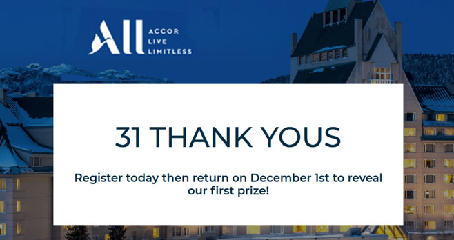 Accor Hotels is giving away 31 amazing prizes throughout December. Enter every day for a chance to win daily prizes and our grand prize, Diamond status for the 2021 program year and a 5-night stay at any of our hotels in North or Central America. And remember to increase your chances with Lucky Streaks by playing multiple days in a row.