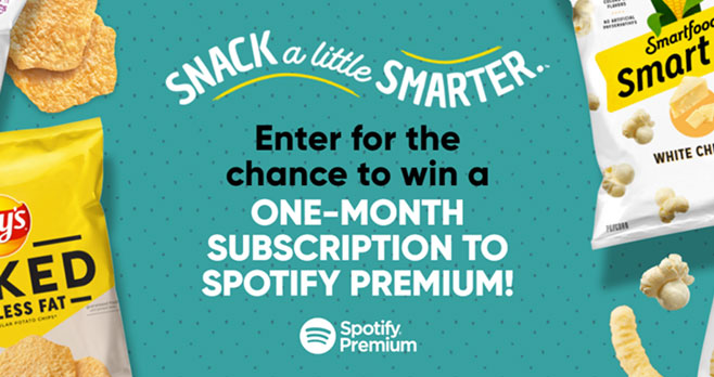 2,500 WINNERS! Play the #FritoLay Snack a Little Smarter Instant Win Game for your chance to win a one-month Subscription to Spotify Premium.