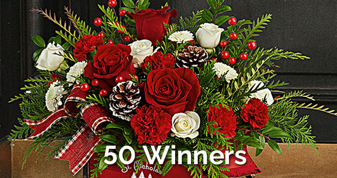 50 WINNERS! Enter for your chance to win a $100 Teleflora gift card from The View. Teleflora's bestselling Christmas lineup features beautifully curated arrangements always made by hand and delivered to your doorstep by a local florist, complete with a festive keepsake container that can be incorporated into your home décor for years to come.
