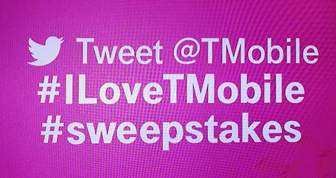 T-Mobile is giving away prizes starting December 18th - December 22nd. Follow @TMobile on Twitter and tweet with #iLoveTMobile and #Sweepstakes