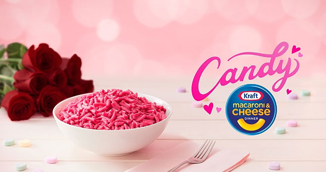 1,000 WINNERS! Enter for your chance to win a Valentine's day prize package from Kraft. Candy flavored Mac and Cheese? Would you try it? Kraft made you something special for Valentine's Day, Candy Kraft Macaroni & Cheese. This limited-edition flavor boost will romance your noodles with a new pink color and make them taste like candy. Sure it sounds a little strange, but hey, love makes people do strange things.
