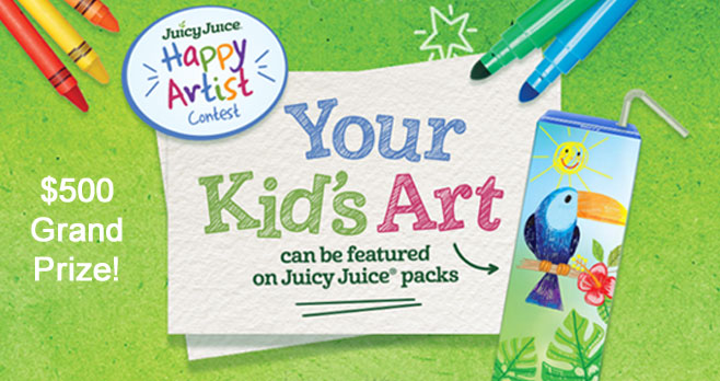 Parents, have your kids draw what makes them 100% happy for a chance to have their art featured on Juicy Juice packs and win $500 for Art Supplies! Enter the Juicy Juice Happy Artist Contest