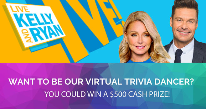 You could be next at home LIVE trivia dancer and win a $500 cash prize! Grab your phone and record a video of yourself dancing. Each week, viewers will vote for their favorite dancer of the week, and the winner will receive $500!