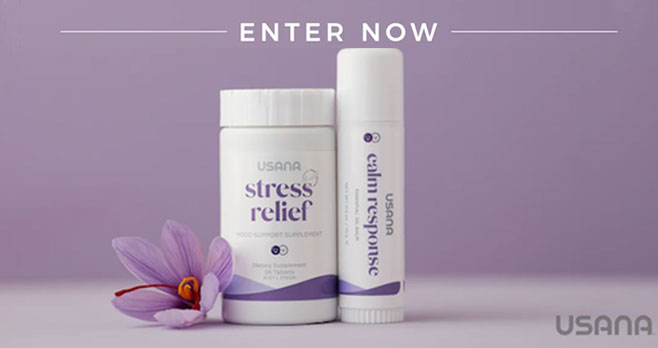 5,500 WINNERS! Enter for your chance to win a Free bottle of USANA Stress Relief and a stick of USANA Calm Response. Support your emotional and mental well-being while maintaining balanced emotional response and resilience with Stress Relief, USANA's daily mood-support supplement.