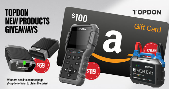 50 winners will be selected to share more than $1400 valued gifts in total including a $100 Amazon Gift Card and select TOPDON products including a scanner, mobile lite and more
