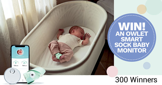 300 WINNERS! In honor of Baby Sleep Day on March 1st, Owlet is giving away 300 Owlet Smart Socks to help parents like you enjoy a better night's sleep. Fill out the form to be entered to win!